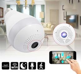 hd cámara poros de cable Rebajas Cámara de luz de cámara de luz IP inalámbrica de 360 grados Lámpara panorámica panorámica FishEye Monitor de casa inteligente CCTV Cámara de seguridad WiFi