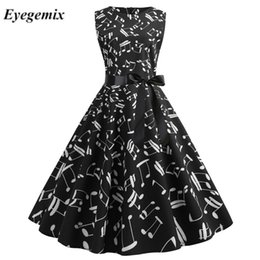 black music dress Coupons - Black and White Music Note Print Dress Elegant Women Party Gothic Sundress Summer Ladies 50S 60S Vintage Dresses Vestidos New
