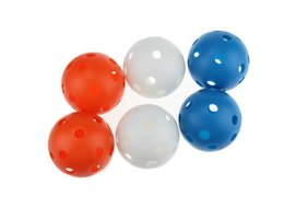 2019 neuheit golfbälle Heißer verkaufender bunter Wiffle-Plastikball Floorball 72mmx50pcs mit Luftstrom-Ball-hohlem Innenpraxisball