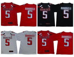 Pas cher l c en Ligne-Hommes Patrick Mahomes II Texas Tech Red Raiders College Maillots De Football Pas Cher # 5 Patrick Mahomes II Université TTU Football Chemises C Patch