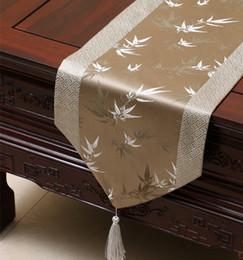 mesa de comedor paño estilo chino Rebajas Elegante Bambú Patchwork Table Runner Lujo Estilo Chino Seda Brocade Mesa de Café Paño de gama Alta Mesa de Comedor Almohadillas Protectoras 200x33 Cm