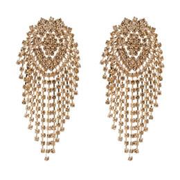 bling nappe all'ingrosso Sconti Orecchini di lusso delle donne del progettista all'ingrosso Bling Bling orecchini di diamanti nappe esagerate ciondolano gli orecchini gioielli per il regalo 9 colori