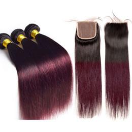 2019 chiusura capelli bordeaux bordeaux Bundle di capelli lisci brasiliani di colore rosso con chiusura 1B / 99J Ombretti di capelli lisci 3 colori con chiusura di Borgogna sconti chiusura capelli bordeaux bordeaux