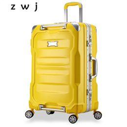 spinner alluminio Sconti Alluminio trolley valigia Carry on Spinner rotella bagagli di rotolamento di imbarco Caso Hardisde Deposito