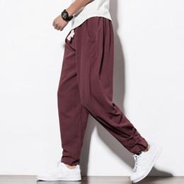 f3e449b9992 Discount style full pant men - Chinese folk style Harem pants Spring autumn men  Cotton linen