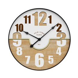 relógios de parede silenciosos vintage Desconto Estilo nórdico Anel De Ferro Silencioso Pendurado Relógio Relógios Silenciosos Modernos Do Vintage Grande Relógios De Parede Casa Sala de estar Decoração