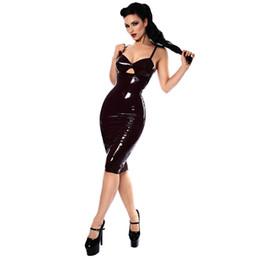 Robe zentai brillante en Ligne-S-XXL Sexy Club Robe Gothique Brillant PVC Wet Look Robes En Cuir Femmes Noir Longueur Au Genou Zipper Robe Noire Club