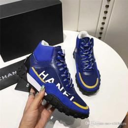 NIBChane1 zapatos de zapatillas de deporte de lycra y malla de cuero azul marino con caja original desde fabricantes