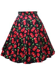d09b97040463b Women Plus Size L-5XL Cherry Print Midi Skirt High Waist Vintage Skater  Faldas Mujer Cotton Spring A-Line Party Skirts