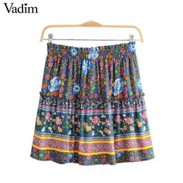 Mini saia floral vintage on-line-Mulheres por atacado retro floral plissada mini saia faldas mujer ruffled cintura elástica do vintage feminino casual wear chic saias BA342