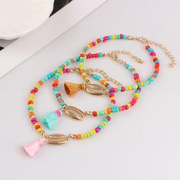 Милый ножные браслеты онлайн-Bohemia Colorful  Shell Anklet for Women Cute Tassel Leg Ankle Chain Bracelet For Women Beach Foot Jewelry