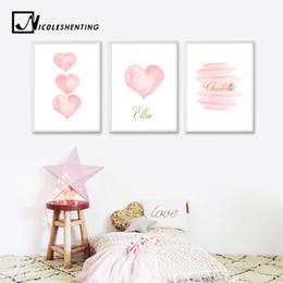 imagens de heart art Desconto Wall Art Watercolor Pink Heart Canvas Imprimir nome personalizado Poster Nursery Pintura Decoração Quarto Imagem Crianças