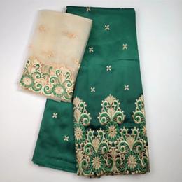 2019 grünes georgegewebe African George Stoff Hohe Qualität Indischer GREEN Silk George Wrappers Hot Nigerian-Spitze-Gewebe-Set mit Bluse für Hochzeit günstig grünes georgegewebe