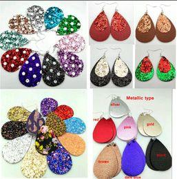 Wholesale Cadeau de Noël Kendra Style PU cuir glitter brillant ovale boucles d oreilles Fashion Dangle Earrings pour femmes