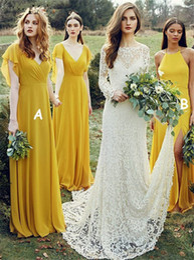 Argentina Vestido de dama de honor de gasa amarillo dorado con volantes mangas casquillo Vestido de fiesta formal largo con cuello en V para bodas Vestidos de invitados cheap yellow gold chiffon Suministro