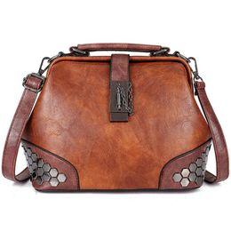 b4363c9ed9 Women Handbag Leather Small Doctor Bag Women Shoulder Bag Female Crossbody  Handbag Lock Chain Rivets Girls Vintage Bags  34447