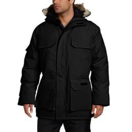 Abajo parka xxl online-Canadá invierno para hombre LIBRE de DHL de abrigo abrigos de lujo chaqueta del diseñador de Down Parka Prendas de vestir exteriores encapuchada de la piel grande de Canadá hacia abajo chaqueta de la capa del tamaño XS-XXL