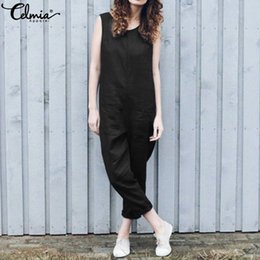 134a859ac63 Celmia 2019 Summer Rompers 5XL Vintage Women Jumpsuits Casual Sleeveless  Linen Harem Trousers Loose Playsuits Plus Size Overalls