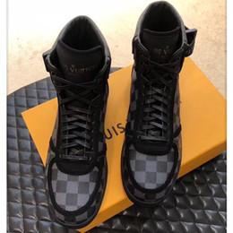 Chaussures haut de gamme en Ligne-Damier Graphite Designer Chaussures Hommes Sneakers Hommes High-Top Casual Chaussures Date Style Plus Baskets Athlétiques À La Mode Chaussures Noir En Cuir Véritable