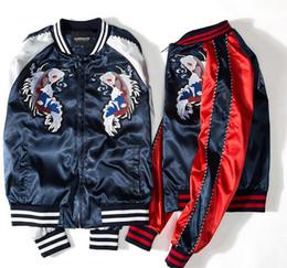 Imprima os dois lados on-line-Impressão de estilo Japonês dos homens Designer de Jaquetas Bomber Mens Tecido de Cetim Gola do time do Colégio jaqueta casaco de ambos os lados wearable jaqueta de beisebol