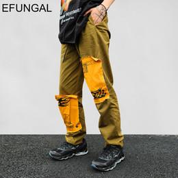 2019 pantalones del remiendo del diseño de la manera EFUNGAL Patchwork Design Harem Pants Hombres 2019 Primavera Verano Harajuku Streetwear Color Block Nueva Moda Joggers Hip Hop pantalones pantalones del remiendo del diseño de la manera baratos