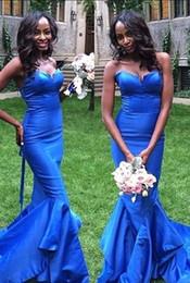 2019 königliche blaue frühlingskleider Mode Königsblau Günstige Lange Brautjungfernkleider Frühling Satin Meerjungfrau Schatz Land Designer Brautjungfern Prom Abendkleid günstig königliche blaue frühlingskleider