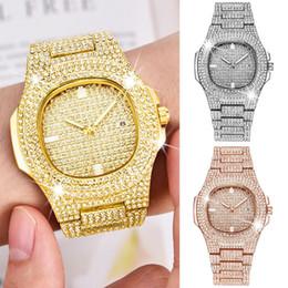 relojes de cuarzo ganadores Rebajas Topgrillz Marca Iced Out Reloj Cuarzo Hip Hop Relojes de pulsera de oro con Micropave Cz Reloj de pulsera de acero inoxidable Horas J190507