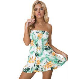 Короткие сапоги короткие онлайн-Summer Floral Print Elastic Waist Short Chiffon Jumpsuit Women Sleeveless off shoulder Boot Cut Sexy Strapless Romper