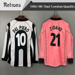 a0a786869 long sleeve 1997 1998 Juventus Retro Home soccer jersey away pink  10 DEL  PIERO  21 ZIDANE 97 98 Classic LS Vintage Football Shirt