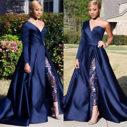 navy one shoulder dresses Promo Codes - Elegant One Shoulder Long Sleeve Evening Dresses Pant Suits A Line Dark Navy Split Prom Party Gowns Jumpsuit Celebrity Dresses BC0282