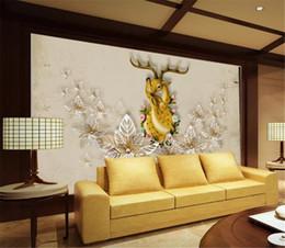 2019 amerikanische tapeten 3D-Seidentapete HD-Druck feuchtigkeitsbeständiges Tapetenpapier im europäischen und amerikanischen Stil Schwiegermutter Deep Sika Deer günstig amerikanische tapeten