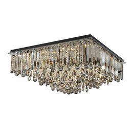 Lustres de cristal cinza on-line-Novo dimmable de cristal retangular de teto lustre de iluminação moderno cinza smoky flush mount candelabros luz para villa sala de estar quarto
