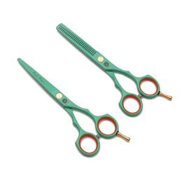 set di forbici kasho Sconti 5.5 '' 16cm 440C Kasho Green taglio cesoie forbici assottigliamento barbiere maas parrucchieri forniture professionali capelli forbici taglio di capelli set h1104