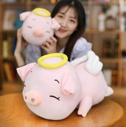 Bambole di angeli all'ingrosso online-La bambola sveglia del maiale di angelo del fumetto sveglio creativo resta i giocattoli svegli della peluche della bambola del maiale all'ingrosso ornamenti creativi della decorazione domestica di modo