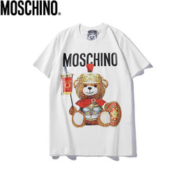 bear cartoon t shirts Coupons - Summer Mens Designer T Shirts MOS Designer T-shirt Cartoon Bear Printed Summer Women Skateboard Street Short Sleeves