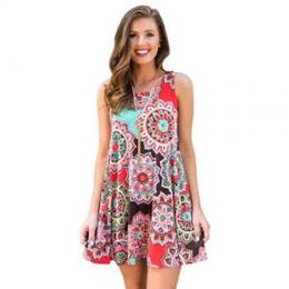473ddc3c4 patrones para vestidos de playa Rebajas Mujeres sin mangas de cuello  redondo vestidos florales Vintage impreso