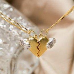 coração, colar, valentine Desconto Heartbreak pingente de colar de presente do amante do dia dos namorados mulheres mão coração partido casal colar de jóias gota cadeia AAA1669