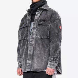homens cinza denim jaquetas Desconto 9SS Cav Empt Make Washed Grey Denim Shirt Jacket Jaquetas Single Breasted Casacos de moda Outerwear Homens Mulheres Street Jacket HFHLJK016