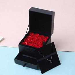 2019 cajas de jabón rosa Regalo del día de Rose romántica mujeres de la caja de jabón Chicas flor de la boda Decoración del partido Cumpleaños Aniversario de San Valentín de la novia cajas de jabón rosa baratos