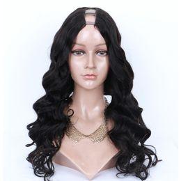 malasia rizado u parte peluca Rebajas 9A U Part Pelucas de cabello humano Ola suelta Brasileño Virgin U Peluca de parte para mujeres negras 3 * 4 de apertura correcta Upart pelucas