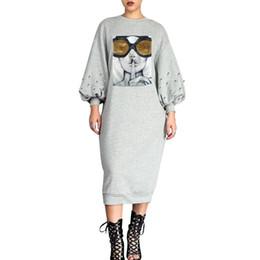 e076009c 2019 Full Sleeve Sequined Pearls print Girl women O-Neck new Dress Spring  Fashion Casual Nightclub Midi dress vestidso LS6230