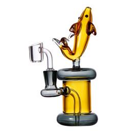 "Equipamento de óleo de peixe on-line-Tokdab 7"" Rig Koi Fish Oil vidro Gong Perc Bongs Honeycomb TORO Bubbler água Tubulações Heady Dab Rig Cachimbo Bongos com Quartz Banger"