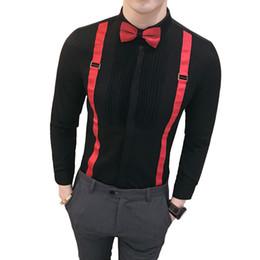 Smoking à ruban en Ligne-Bow Ribbon Shirt 2019 Designer de Mode Hommes Slim Shirt manches longues De Luxe Tuxedo Hommes Noir Stage Vêtements Hommes