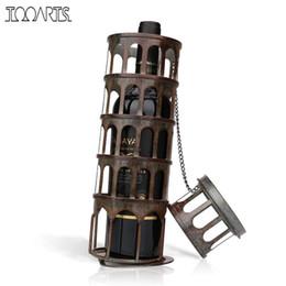 Exhibición de la botella de la barra online-Tooarts Metal Tower Wine Rack Classical Bottle Holder Kitchen Bar Display Iron Wine Holder Moderno Decoración Del Hogar Accesorios