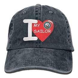 2019 nuevas gorras de béisbol baratas Imprimir sombrero alto para hombre  algodón lavado sarga gorra de béisbol Amo mi marinero 3380200c805