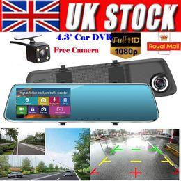 2020 dvr spiegel 4.3 4,3 '' FHD 1080P Doppelobjektiv 140 Grad Auto DVR Rückspiegel Digital Dash Cam Videorecorder Front- und Rückfahrkamera LCD günstig dvr spiegel 4.3