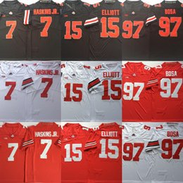 132eb852c258 Ohio State Buckeyes  7 Dwayne Haskins Jr. 15 Ezekiel Elliott  97 Nick Bosa  College Football Jerseys Free Shipping Size S to 3XL