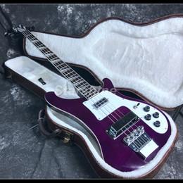 Chitarra corporea chitarra corporea online-2019 Top Quality 4 Corde Ricken Basso Elettrico Chitarra Pickups Hardware di alta qualità Top in acero fiammato Colore viola