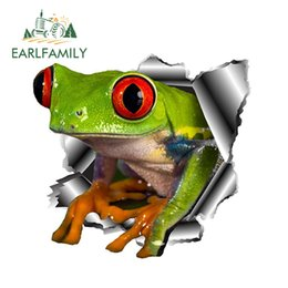 3d stickers frogs Promo Codes - EARLFAMILY 13cm x 12.3cm 3D Frog Car Stickers Torn Metal Car Hood Decal Reflective Sticker Funny Animal Styling Accessories