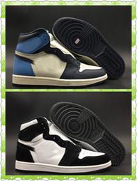 2019 crème de nylon 1 Mid in Navy and Cream 1 Twist Panda Top Quality Sail Obsidian University Homme Bleu Basketball Designer Chaussures Nouveau I UNC Cuir promotion crème de nylon